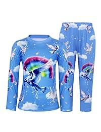 Cotrio Rainbow Unicorn Kids Girls Pajamas Two Pieces Sleepwear Short Sleeve Shirt and Pants