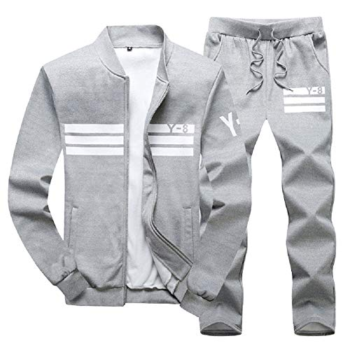 Vogstyle Men's Casual Tracksuit Long Sleeve Running Jogging Athletic Sports Set Gray M