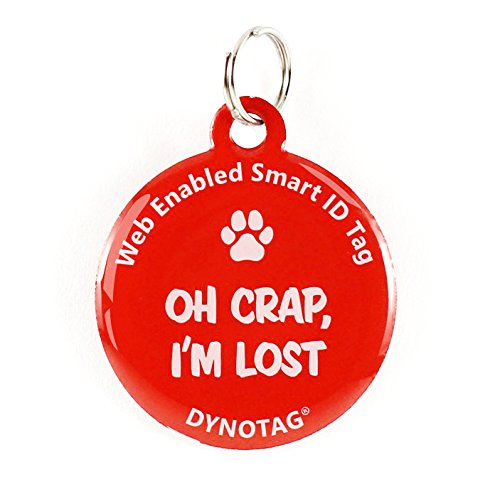 Dynotag Web Enabled Super Pet ID Smart Tag. Deluxe Coated Steel, with DynoIQ & Lifetime Recovery Service. Fun Series (Red: Oh Crap, I