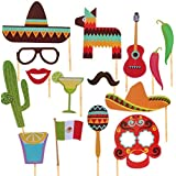 iFun iCool Mexican Themed Photo Booth Props Kit Decorations Attached to the Stick - Party Decorations 29PCS