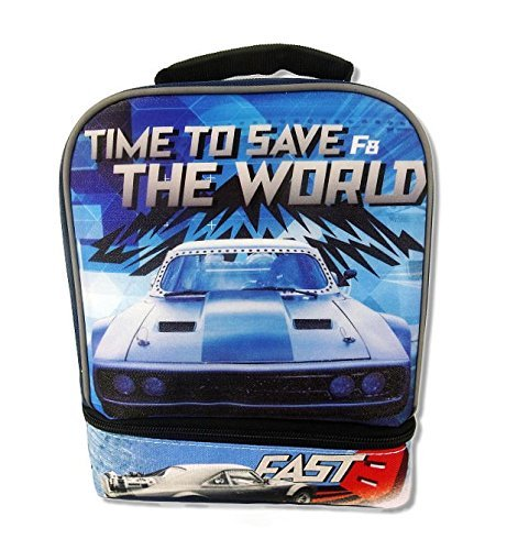 FAST & FURIOUS 8 Boys Dual-Chamber Lead-Safe Insulated Lunch Tote Box Bag