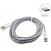 Galaxy S9 S9+, Note 8, S8 S8+ Compatible White Premium Braided 10ft Long Type-C Cable Rapid Charge USB Wire Sync USB-C Power Data Cord for Samsung Galaxy S9 S9+, Note 8, S8 S8+