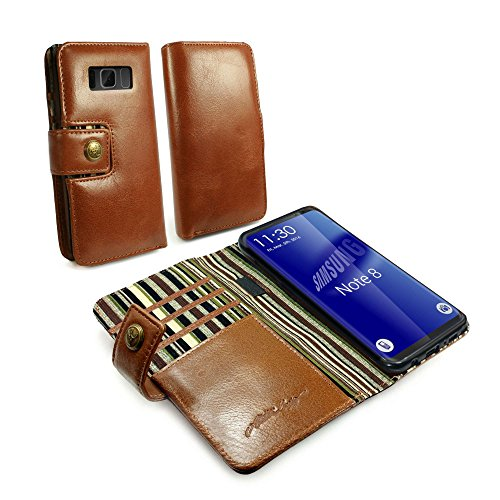 Vintage Purses Ebay - Alston Craig I7_46 Personalised Gentlemen's Traditional Vintage Genuine Leather Folio Wallet Case Cover for Galaxy Note 8 - Brown