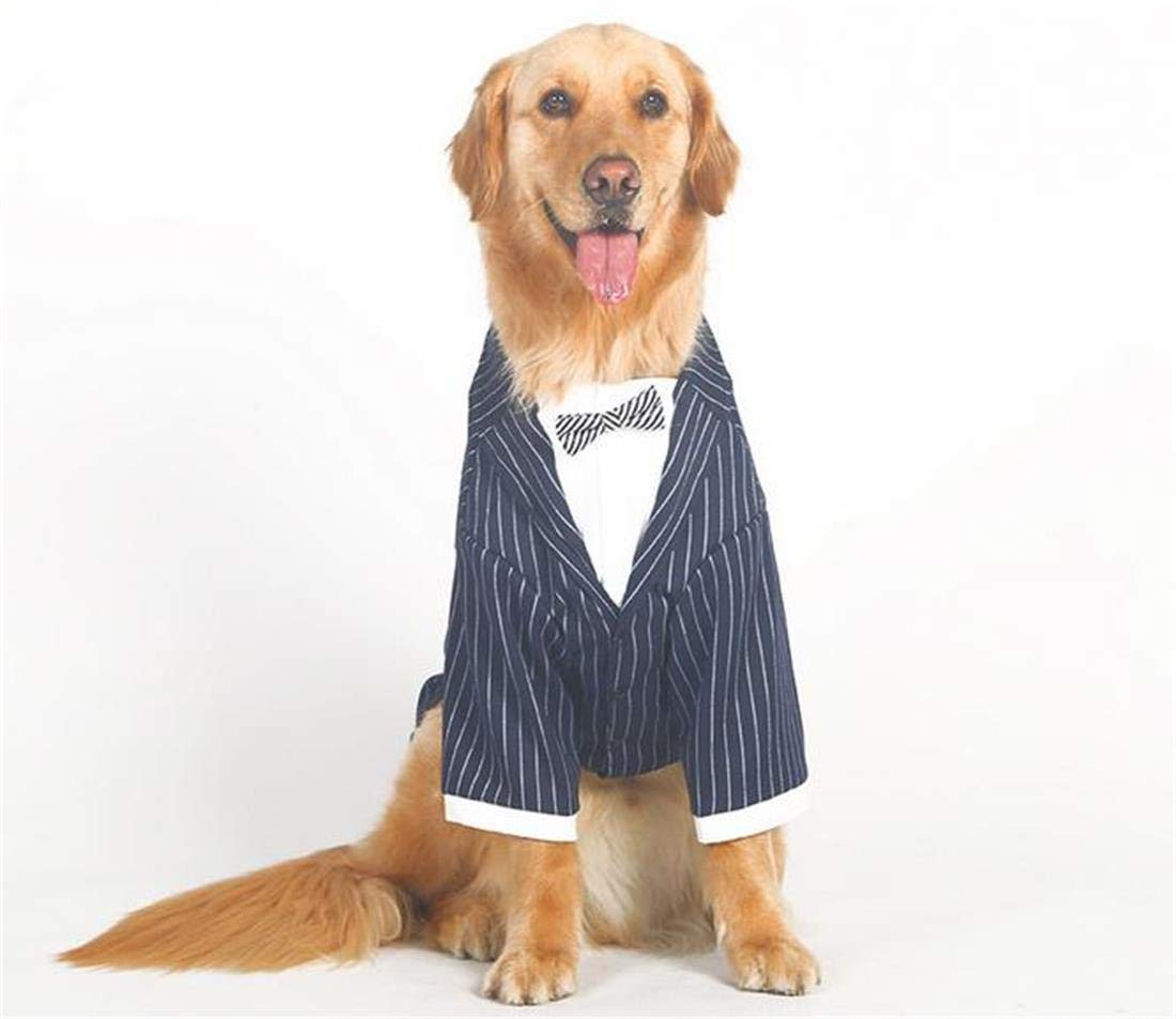 3XL Large Dog Wedding Suit Clothes, Dog Prince Stripe Tuxedo Costumes Formal Party Outfits,fit golden Retriever,Pitbull,Labrador,Samoyed,3XL