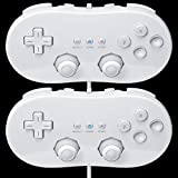 Bowink 2 packs White Controllers for wii,Classic Console Gampad Gaming Pad Joypad Pro for Wii