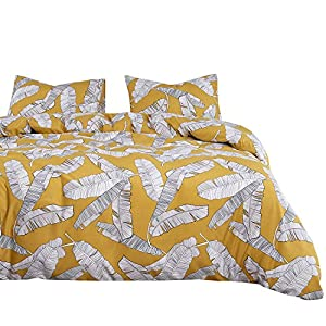 Wake In Cloud - Yellow Duvet Cover Set, Banana Tree Leaves Black and White Drawing Pattern Printed, Soft Washed Microfiber Bedding with Zipper Closure (3pcs, Queen Size)