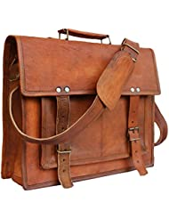 Leather Bags Now 14 Inches Unisex Crosbody Shoulder Leather Messenger Laptop Briefcase Bag Satchel Brown Office...