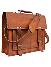 Leather Bags Now 14 Inches Classic Adult Unisex Cross Shoulder 100% Genuine Leather Messenger Laptop Briefcase Bag Satchel Brown