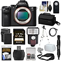 Sony Alpha A7 II Digital Camera Body with 64GB Card + Battery & Charger + Case + Strap + Tripod + Flash + Kit