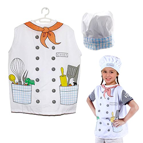 Dazzling Toys Kids Pretend Play Chef Costume Set Vest and (Chef Costumes For Kids)