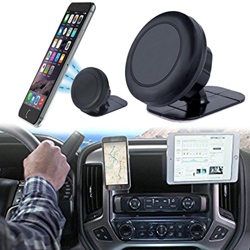 DZT1968 360° Universal Stick On Dashboard Magnetic adjustable Car Mount Holder Cradle For most Smartphones