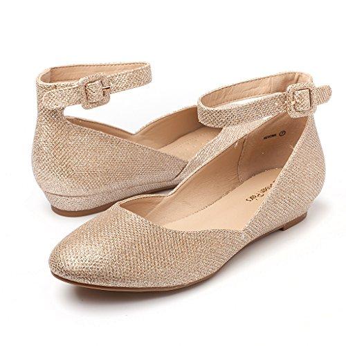 DREAM PAARS Frauen Revona Low Wedge Ankle Strap Wohnungen Schuhe Goldglitter