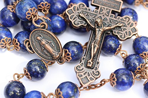 Large Genuine Lapis and Copper 10mm 5 Decade Natural Stone Bead Rosary Made in Oklahoma by Oklahoma Rosaries (Image #8)