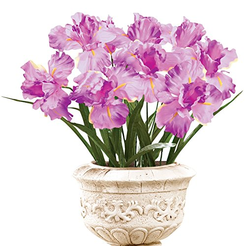 Iris Bushes Flower Arrangement Artificial Bush Picks - Set Of 3, Pink (Floral Arrangements For A Funeral)