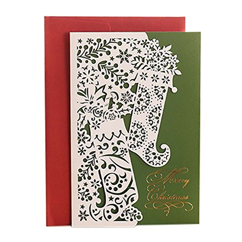 3 Pcs High-grade Paper-cut Christmas Card Christmas Eve Holiday Cards with Envelope, D (Charity Xmas Ecards)