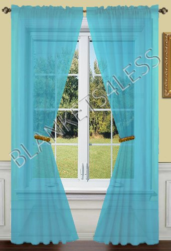 2 Piece Solid Turquoise Sheer Window Curtains/drape/panels/treatment 55″w X 84″l