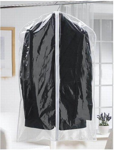 Luxehome Reusable Folding Clear Vinyl Long Garment Bags for Suits, Cloth, Protects Storage Home Decor, Set of 6 (GB1408-16)