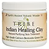 TRIBE Calcium Bentonite Indian Healing Clay Powder, 100% Natural Desert Sourced for Deep Pore Facials, Body, Face and Hair. Detoxify and Purify Skin, Cleanser 1 Pound (16 oz)