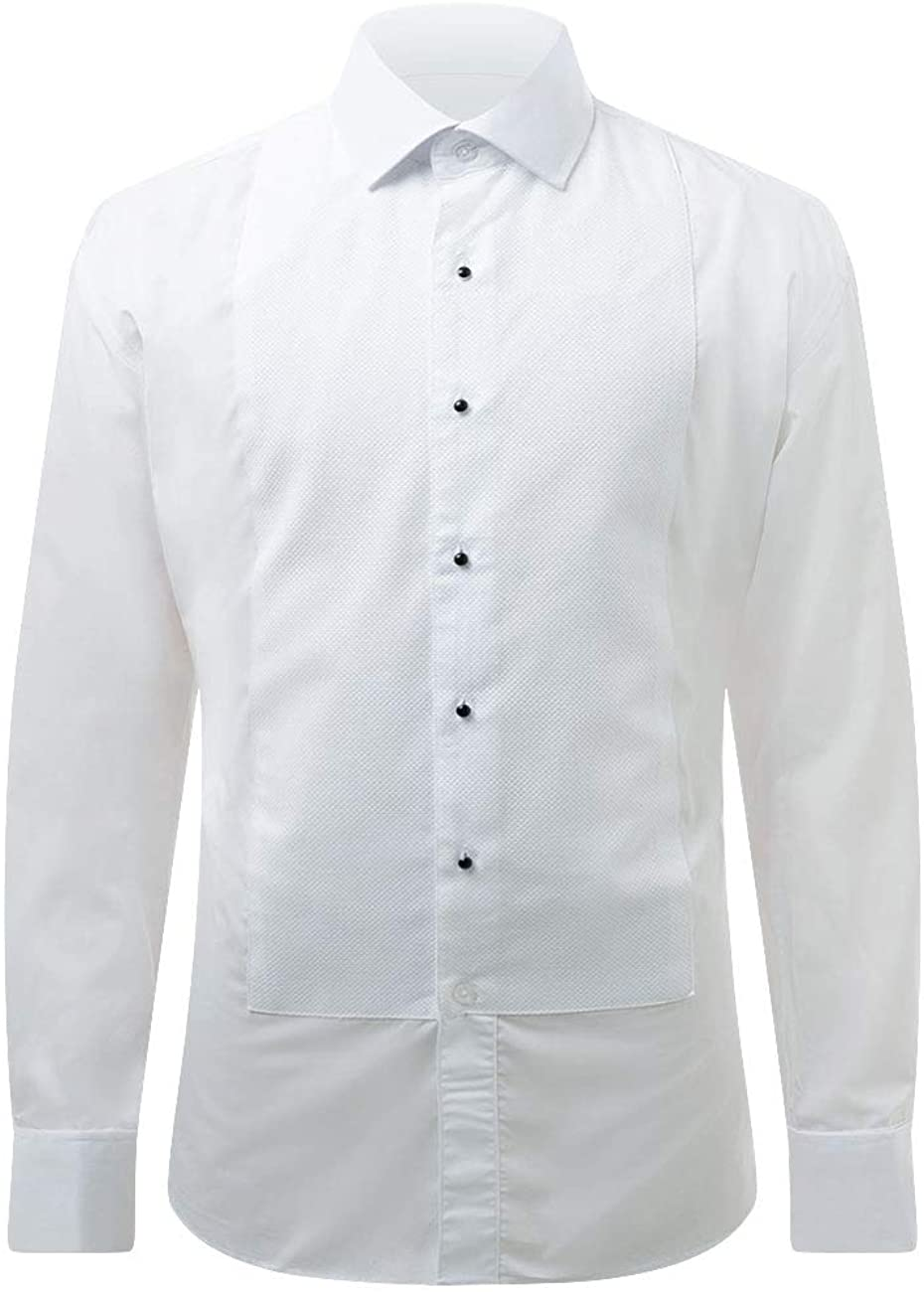 1920s Men's Fashion UK | Peaky Blinders Clothing Dobell Mens White Marcella Evening Dress Shirt Regular Fit Standard Collar Stud Button Front £39.99 AT vintagedancer.com