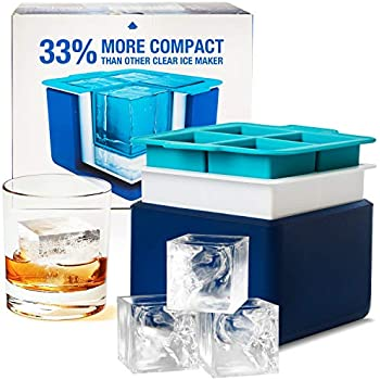 Eparé Clear Ice System - Mold Makes 4 Large Crystal Clear Ice Cubes - Compact Tray Makes Perfect 2 Inch Block Ice Cubes