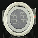5 Carat Diamond Bezel Digital 2 Time Zone Authentic I Gucci Silicon Band Watch
