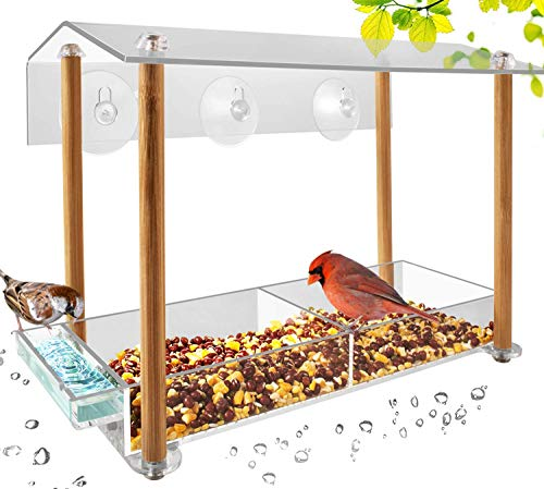 (Bird Feeder, Strong Large Size with Suction Cups & Seed Tray, Separate Drinking-Water Sink & Wood Pillar Support, Weatherproof with Shield roof & Drain Hole, Outdoor Acrylic Bird House (12 inch) ...)
