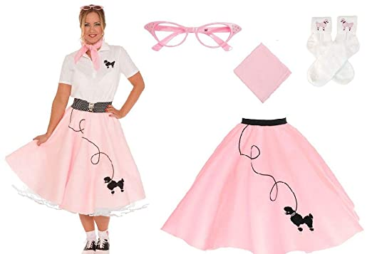 8c0afea42a28d Amazon.com: 50S Womens 4 Pc Poodle Skirt Outfit Halloween Dance Costume  Set: Clothing