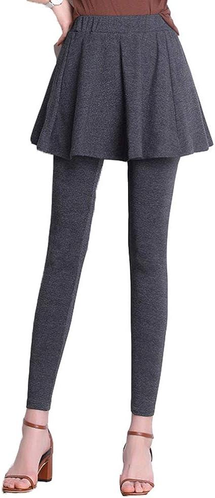 Leggings Elásticos De Cintura Alta para Mujer, Falda Plisada + ...