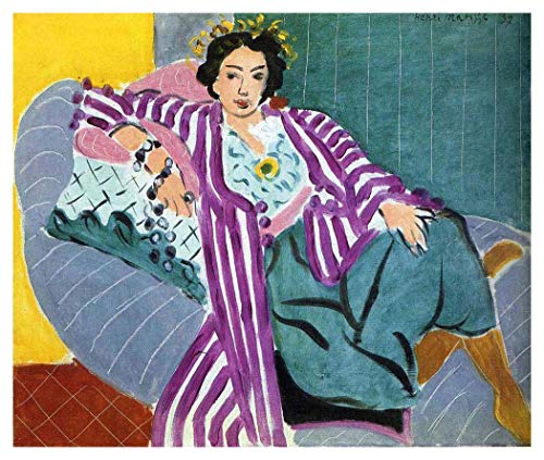 Robe Henri Matisse Purple - JH Lacrocon Small Odalisque in Purple Robe by Henri Matisse Handpainted Reproduction - 120X100 cm(ca. 48X40 inch) Figure Paintings Canvas Wall Art Unmounted for Living Room