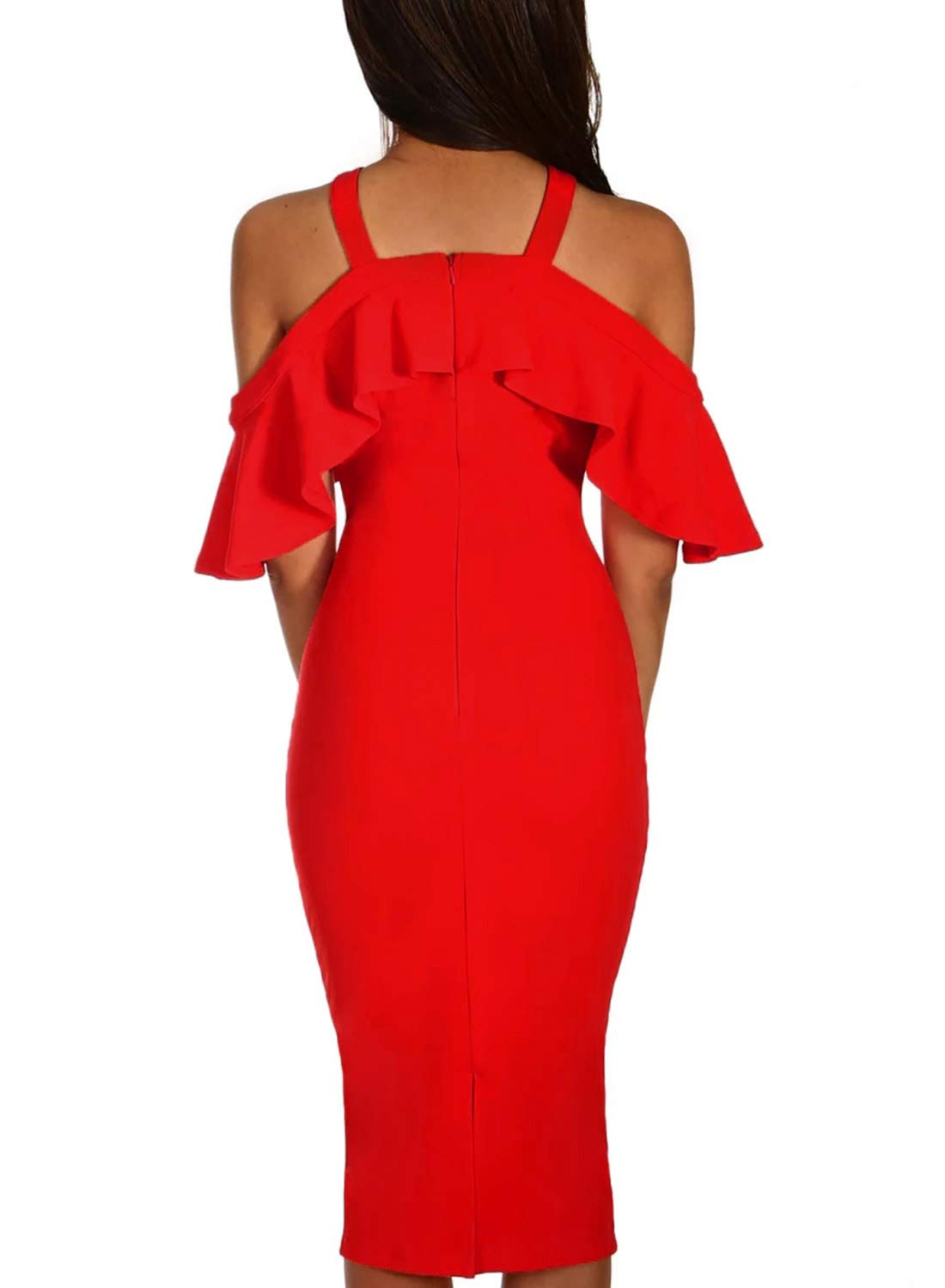AlvaQ Womens Laides Sexy Ruffle Sleeve Frill Halter Criss Cross Cold Shoulder Party Cocktail Wedding Bodycon Midi Knee Length Dress Red Small by AlvaQ (Image #2)