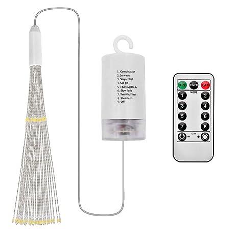 Queta - Cadena de luces LED, efecto fuegos artificiales, guirnalda de luces, impermeable, guirnalda de Navidad, funciona con pilas (no incluidas) y mando a ...