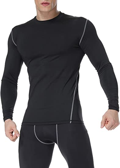 Mens Compression T-Shirt Long Sleeved Gym Base Layer Under Top Sports Fitness