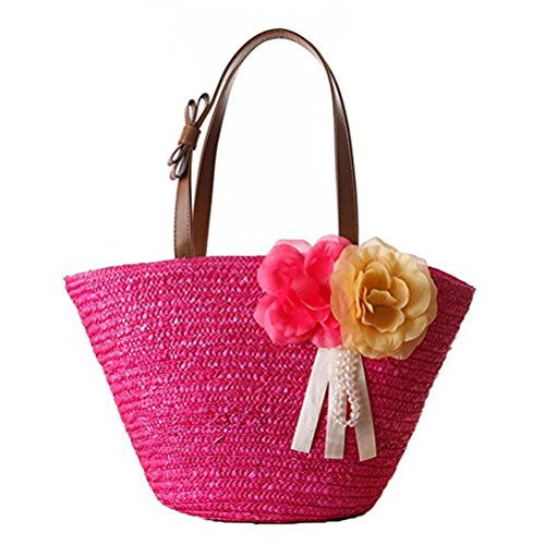 Women Pt4 Handle Pu Ribbon Straw Bow Woven Shoulder Handbags Straw Beach Flower Beaded Bag Abuyall UwRxqfgdq