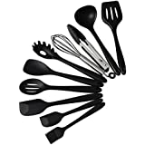 Kitchen Utensils-Silicone Heat-Resistant Non-Stick Kitchen Utensil Set Cooking Tools 10 Piece with Ladle, Pasta Fork, Spoonula, Slotted Spoon, Tongs, Turner, Large Spatula, Whisk, Small Spatula, Basting Brush (Black)