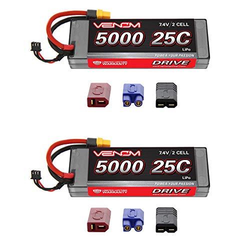 Venom 25C 2S 5000mAh 7.4V Hard Case LiPo Battery with Universal Plug (EC3/Deans/Traxxas/Tamiya) x2 Packs