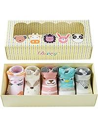 Baby Girl Anti Skid Socks for Walking Infant Cute Cartoon Animal Non Slip Ankle Socks 6-18 Months 5 Pairs