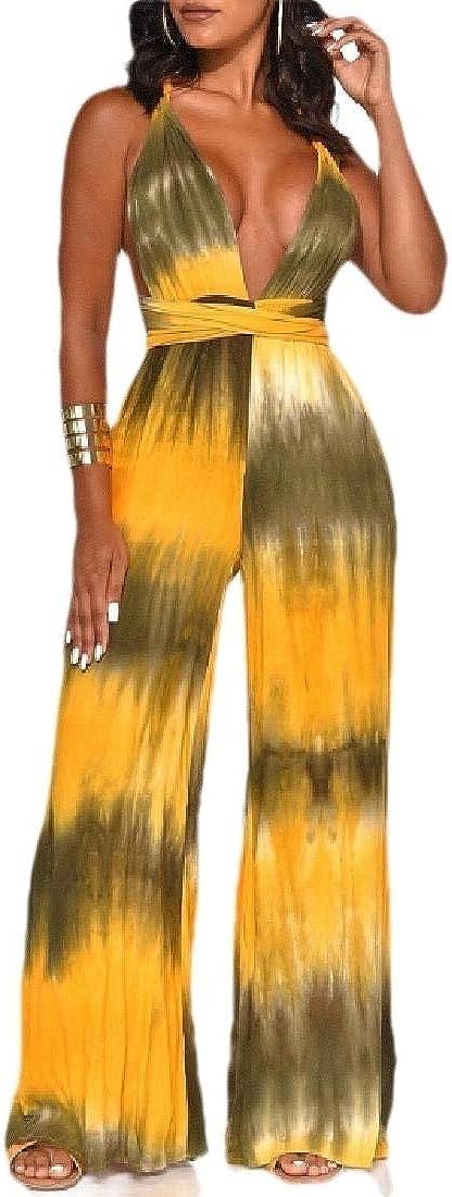 ZXFHZS Women Backless Halter Deep V Neck Wide Leg Long Romper Jumpsuits
