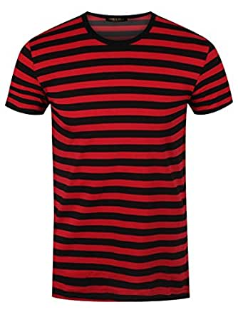 Amazon.com: Men's Striped T-shirt Black and Red: Clothing