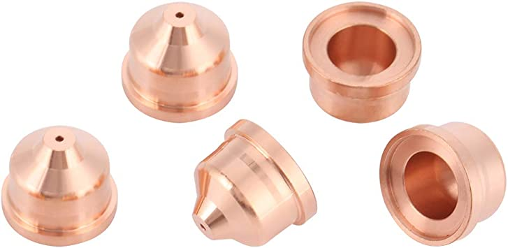 Plasma Nozzle 5pcs Tellurium Copper Plasma Shield Cup Cap Plasma Cutting Nozzles for MAX45 Cutting Torch Consumables 220673