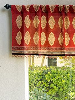Spice Route ~ Red Orange Moroccan Style Print Window Valance 46x17
