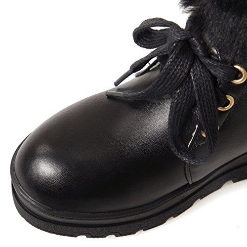 ENMAYER para mujer Plataforma peluda caliente plataforma redonda dedo del pie en el bajo talón botas de nieve vestido de fiesta botas de media pantorrilla Negro1