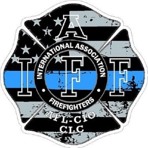 Blue Maltese - American Magnet MAGNET 4 Inch IAFF Thin Blue Line Maltese Distressed Flag Magnetic Sticker Decal 6529 Size: 4x4 Inches
