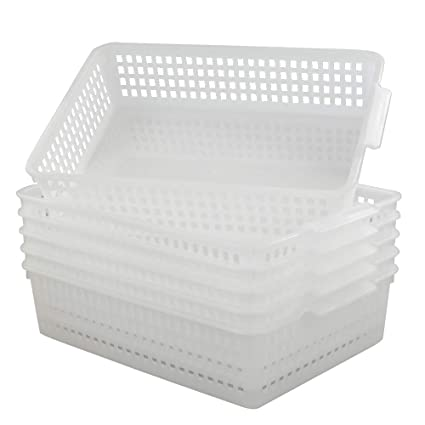 5fa0445d2b04 Qsbon A4 Paper Storage Baskets File Trays Baskets, Pack for 6