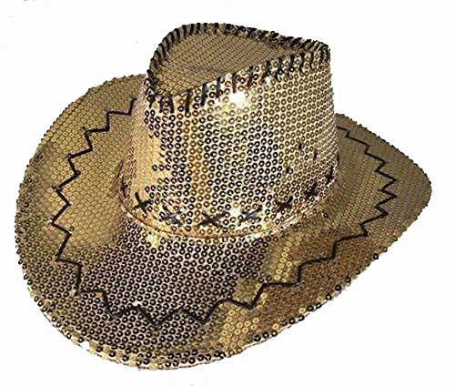 Dance Cowgirl Costumes - Sparkling Gold Sequins Men or Womens Western Style Cowboy / Cowgirl Hat