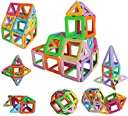 Magnetic Tiles Building Blocks Game Set Toys by DreambuilderToy (40 PC Set) (Pastel Color)