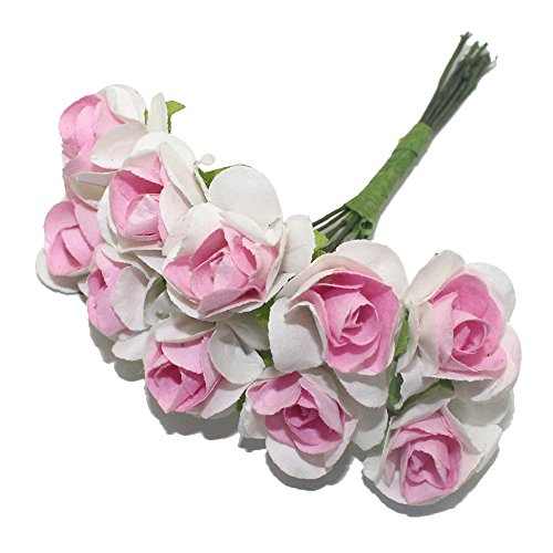 40Pcs/Lot 1.5Cm Flower Head Pink Double Colors Paper Flower Used For Widding Or Diy Gift Decoration^3.