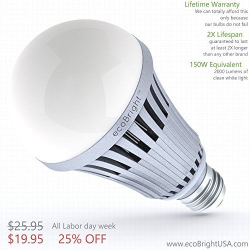 ecoBright 20W (150W 2000LM LED Light Bulb, Warm White (non-dimmable)