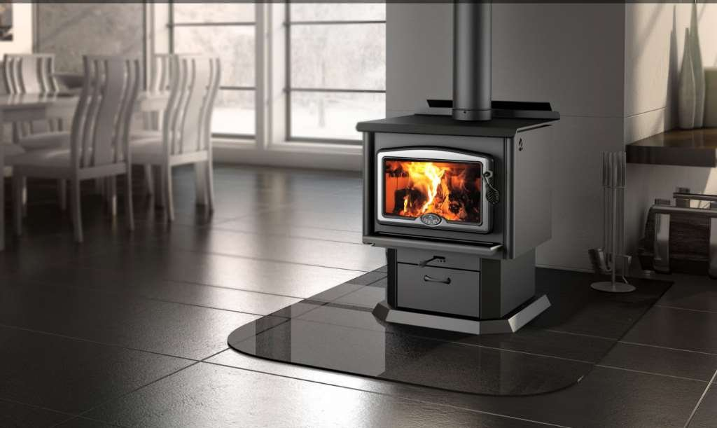 Osburn 1600 Wood Stove with Brushed Nickel Door Overlay and Black Pedestal Kit by Osburn