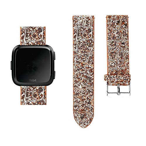 - for Fitbit Versa Bling Glitter Bands, Shiny Sparkly Leather Band Replacement Strap for Fitbit Versa Band (Rose Gold, Free Size)