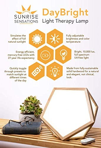 Sunrise Sensations – DayBright Light Therapy Lamp with Remote for Adjustable Full Spectrum, UV-Free Light with Real Wood Exterior